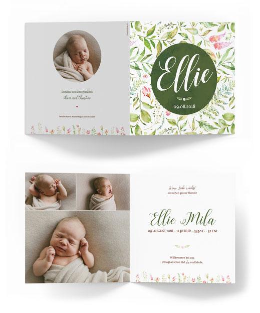 Geburtskarte mit 4 Seiten kartendings.ch Geburtsanzeige