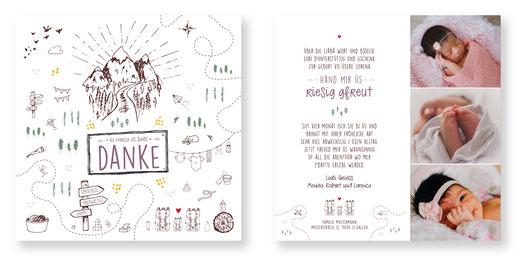 Dankeskarte zur Geburt Dankeskarte Schweiz Baby kartendinngs