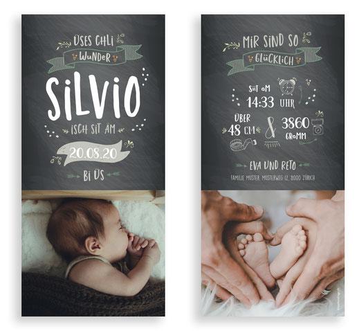 Geburtskarte speziell kreativ Lettering Schweiz Schiefertafel Geburtsanzeige kartendings