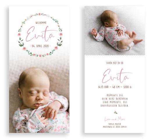 Geburtskarte Geburtsanzeige Schweiz kartendings.ch Blumenkranz