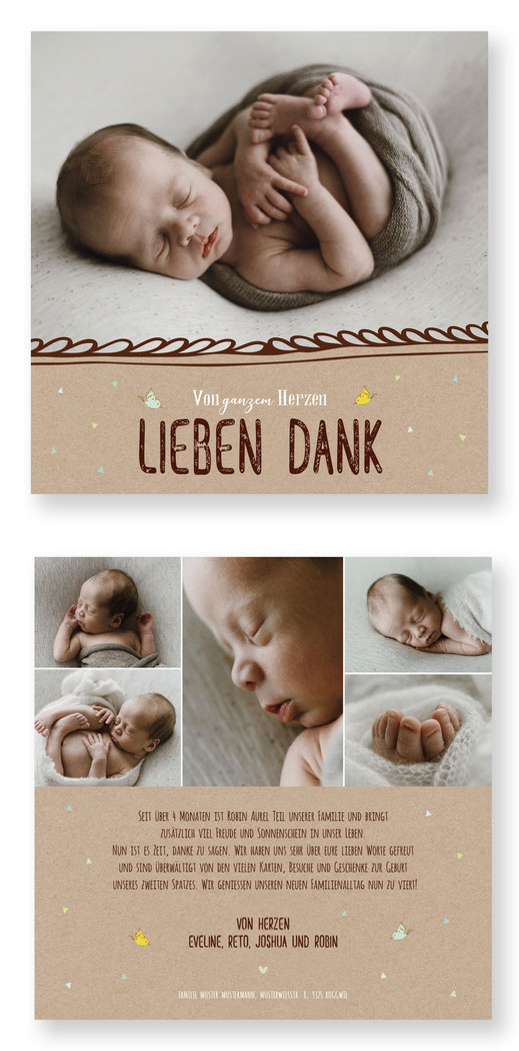 Dankeskarte Geburt kartendings.ch