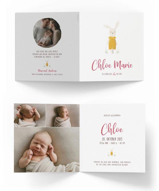 Geburtskarte Geburtsanzeige 4-seitig mit 4 Seiten Schweiz kartendings.ch