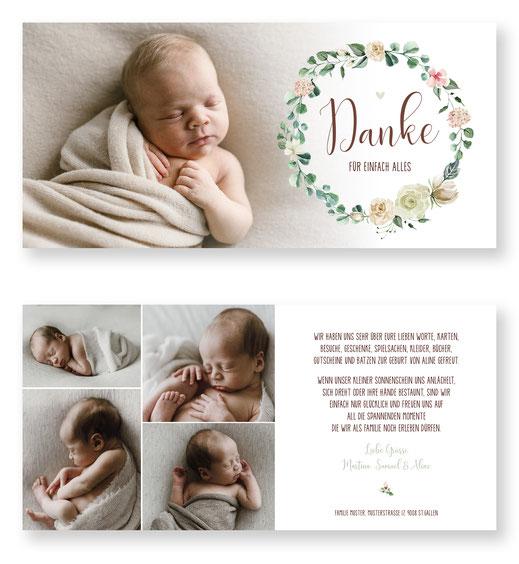 Dankeskarte Baby mit Foto Schweiz Mädchen kartendings.ch