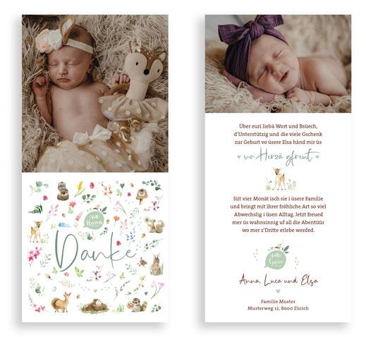 Dankeskarte Baby Danke Karte Geburt Waldtiere Blumen kreativ originell Schweiz kartendings.ch Reh Fuchs Bär Hase Igel