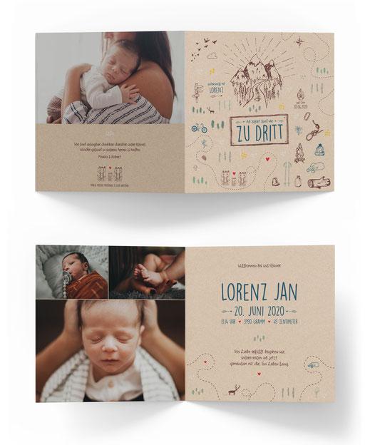 Geburtskarte kartendings.ch 4-seitig Geburtsanzeige Klappkarte aufklappen