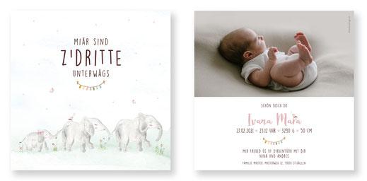 Geburtsanzeige Junge speziell kreativ Karte für Baby karntendings.ch