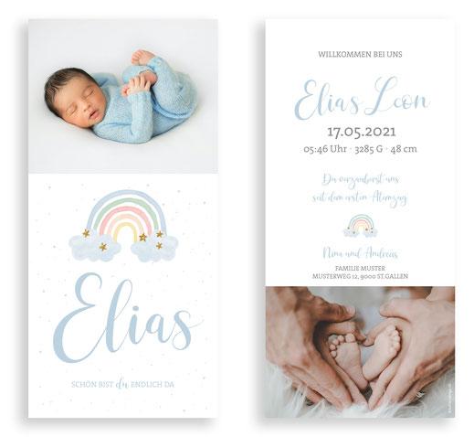 Geburtskarte Geburtsanzeige Schweiz Kartendings.ch Regenbogen speziell