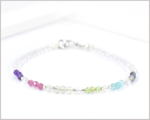 Pastell Edelstein Armband 3 mm  925 Silber  36,90 €