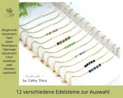 Edelstein Armband 3 -4 mm mit Edelstein Deiner Wahl  ab 19,90 €