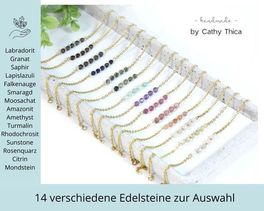 Edelstein Armband 4 mm mit Edelstein Deiner Wahl  ab 19,90 €