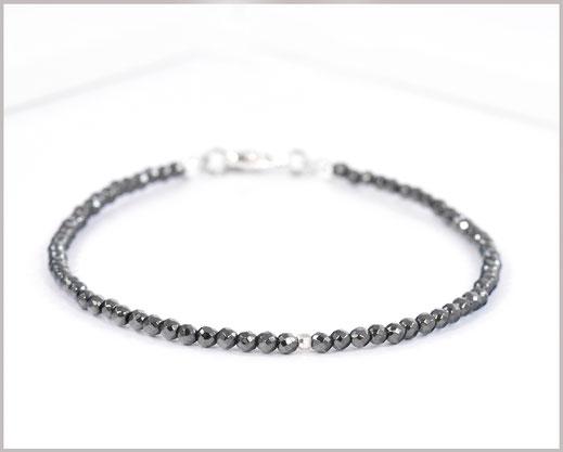 Hämatit Edelstein Armband 2,5 mm mit 925 Silber  28,90 €