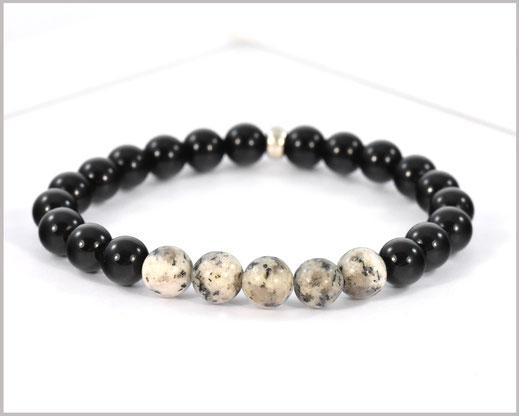 Edelsteinarmband für Männer mit Achat und Jaspis Perlen und Buddha Kopf