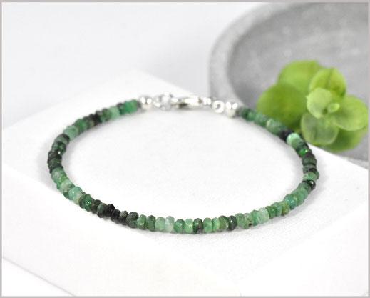 Smaragd Armband  2 x 5 mm mit 925 Silber Unikat Einzelstück  49,90 €