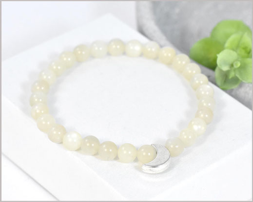Mondstein Edelsteinarmband 6 mm  mit Mond Perle  23,90 €