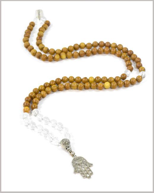 Mala mit Bergkristall Edelsteinen und Sandelholz Perlen - Bhakti