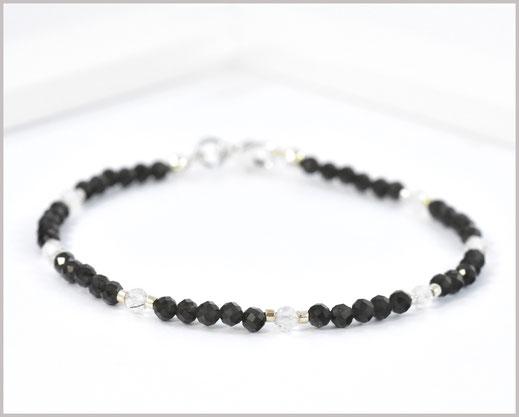 Obsidian / Bergkristall Edelsteinarmband 3 mm  925 Silber  36,90 €