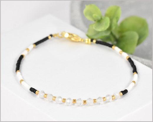 Bergkristall Edelstein Armband mit Miyuki Perlen Mix  27,90 €