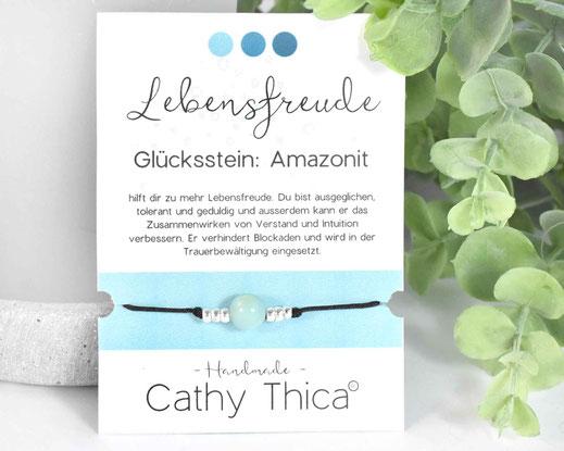 Glücksarmband mit Amazonit Edelstein  11,- €