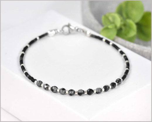 Edelstein Armband mit 3 mm Schneeflocken-Obsidian  kombiniert mit Myuki Perlen Mix 1  27,90 €