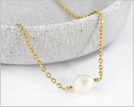 Süsswasser Perlen Kette 10 mm  Edelstahl vergoldet  14,90 €
