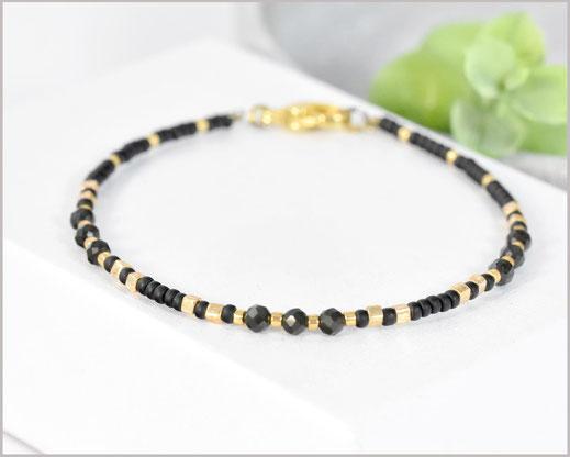 Edelstein Armband mit 3 mm Obsidian kombiniert mit Myuki Perlen Mix 4  27,90 €