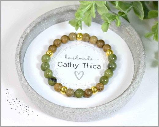 Jade grün Edelstein Armband mit  Sandelholzperlen kombiniert  16,90 €