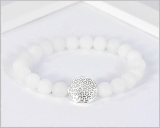 Jade weiß Edelstein Armband mit  Blume des Lebens 925 Silber  29,90 €