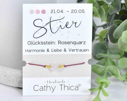 Sternzeichen Armband Stier - Rosenquarz  11,- €
