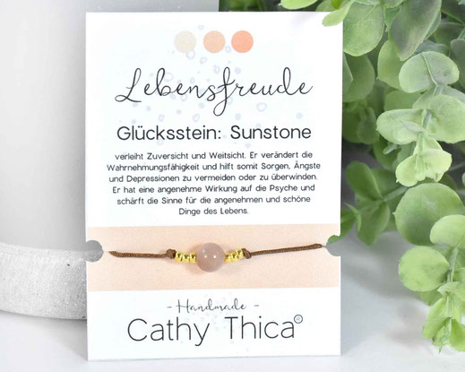 Glücksarmband mit Sunstone Edelstein  11,- €