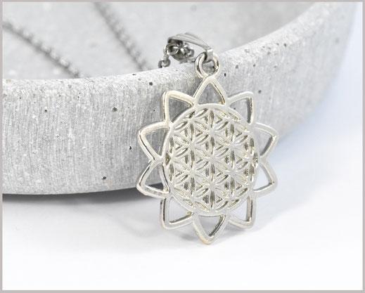 Blume des Lebens Kette versilbert / Edelstahl
