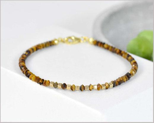 Tigerauge Kegel Edelsteine 3 mm kombiniert mit Miyuki Perlen und 925 Silber vergoldet  33,90 €