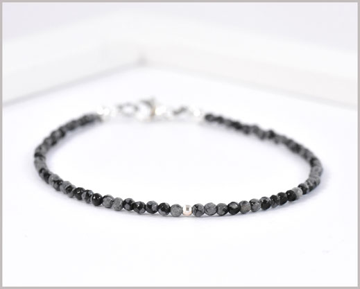 Obsidian Edelsteinarmband 2 mm 925 Silber  33,90 €