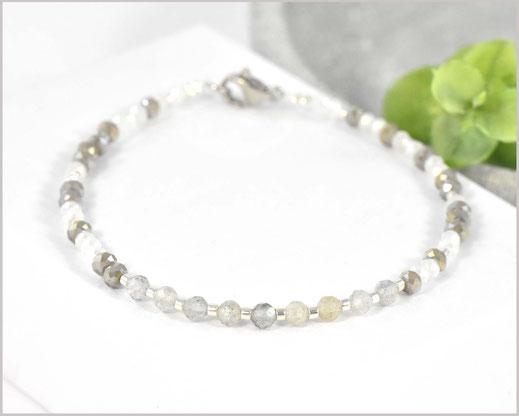 Labradorit Edelstein Armband 3 mm mit Rocailles Perlen Mix  27,90 €