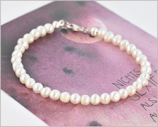Süsswasser Perlen Armband 4 mm  925 Silber  22,90 €