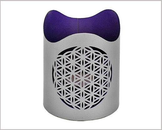 Teelichthalter Silberfarben mit Lebensblume Motiv