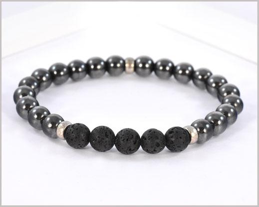 Edelsteinarmband für Männer mit Hämatit und Lava - Stabilität -
