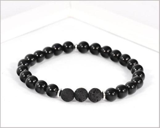Edelsteinarmband für Männer mit Achat und Lava - Stabilität -