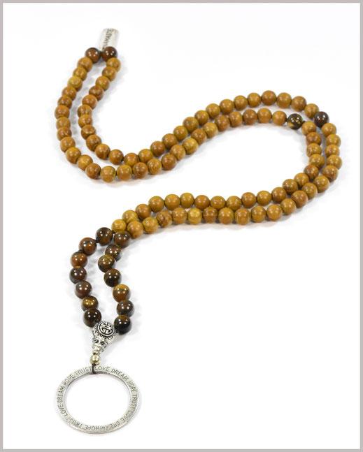Mala mit Tigerauge Edelsteinen und Sandelholz Perlen - Bhakti