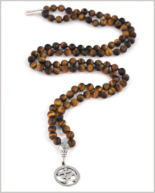 Geknotete Mala Kette mit Tigerauge Edelsteinen - Shiva
