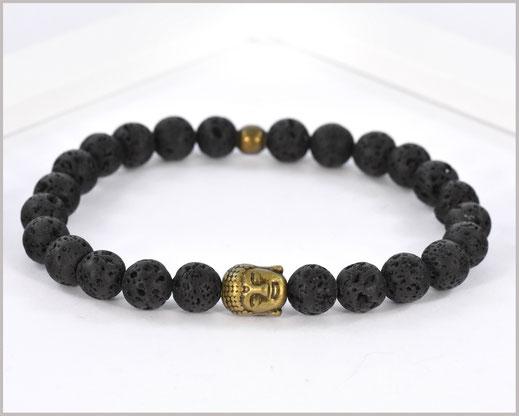 Edelsteinarmband für Männer mit Lava und Buddha - Energie -