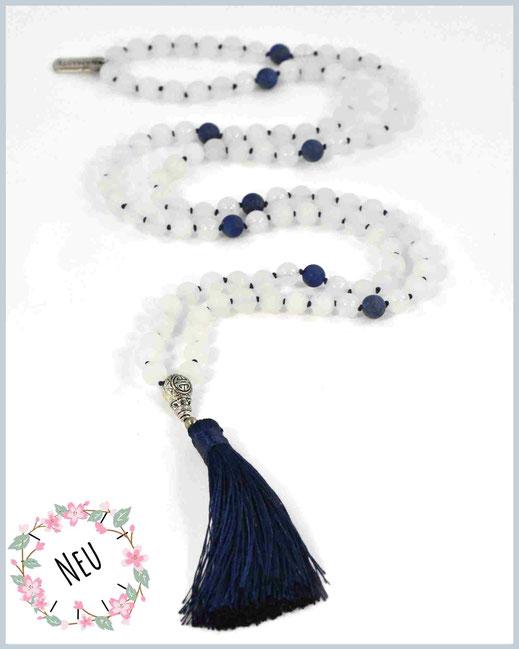 Mala Kette mit Jade Edelsteinen und kleiner Blume des Lebens - Nandini
