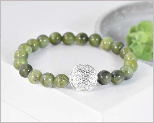Jade grün Edelstein Armband mit  Blume des Lebens 925 Silber  29,90 €