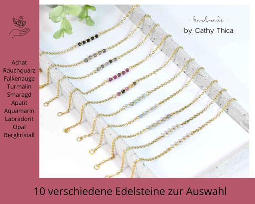 Edelstein Armband 3 mm mit Edelstein Deiner Wahl  ab 19,90 €