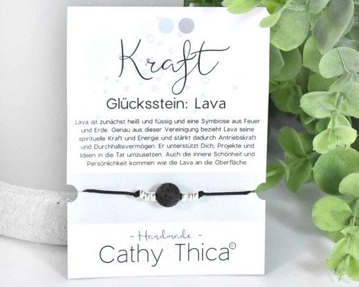 Glücksarmband mit Lava Edelstein  11,- €