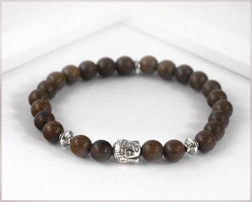 Männer Armband mit Sandelholz Perlen Buddha