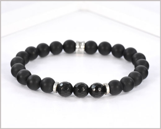 Edelsteinarmband für Männer mit Achat & Obsidian