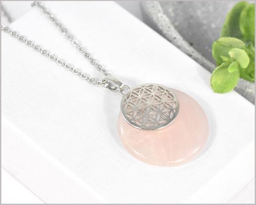 # Kette mit Rosenquarz Edelstein  Blume des Lebens 30 mm  15,90 €