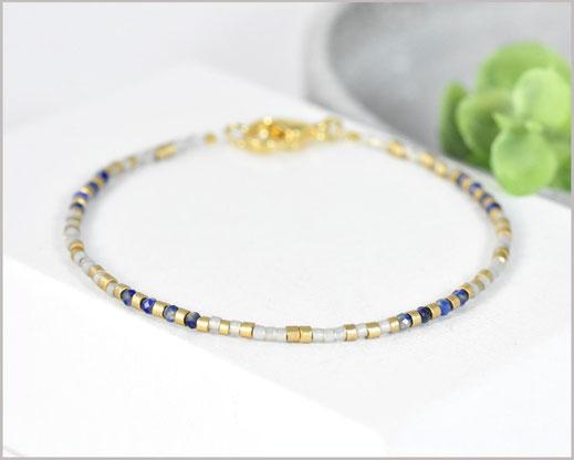 # Edelstein Armband mit Lapislazuli mit 2 mm mit Miyukiperlen gold  25,90 €