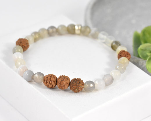 Mala Armband mit Amethyst und Bergkristall Edelsteinen - Ananta