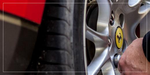 Reifenwechsel Ferrari und Maserati